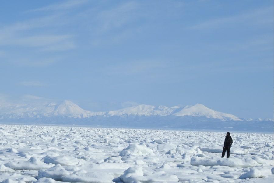 冬のオホーツク海と知床連山の絶景を堪能する海岸スノーシュー